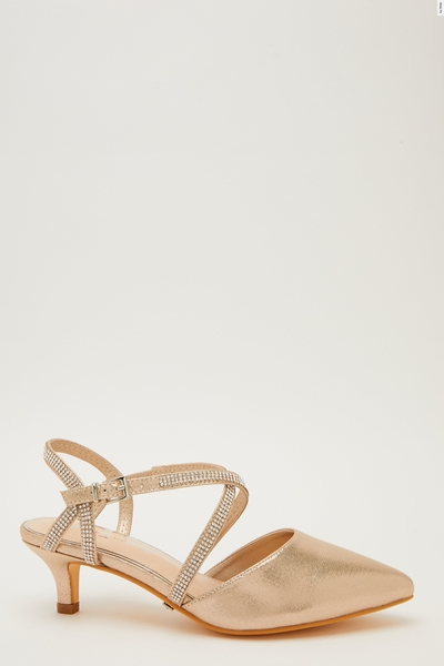 Wide Fit Gold Low Court Heel